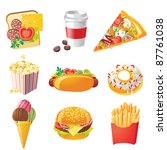9 realistic fastfood icons | Shutterstock .eps vector #87761038