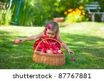 little girl collects the apples ... | Shutterstock . vector #87767881