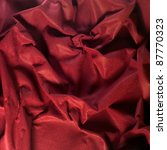 full frame crumpled red felt background - stock photo