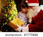 Photo Of Cute Boy And Santa...