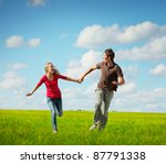 young happy family running on a ... | Shutterstock . vector #87791338