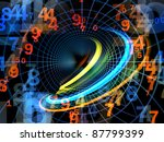 Interplay of numbers and attractive abstract forms on the subject of mathematics, science, computing, modern technologies and numerology - stock photo