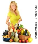 Young woman with groceries including vegetables, fruits, dairy and bakery products and wine isolated on white - stock photo