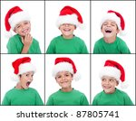 Happy child with christmas hat and various expressions - stock photo