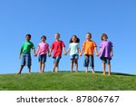 kids standing on grass hill... | Shutterstock . vector #87806767