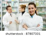 cheerful pharmacist chemist... | Shutterstock . vector #87807331
