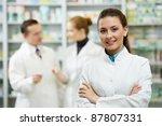 cheerful pharmacist chemist...   Shutterstock . vector #87807331