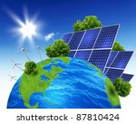 green planet earth with solar... | Shutterstock . vector #87810424