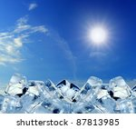 Ice Cubes In Blue Sky