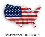 american map flag waving... | Shutterstock . vector #87833014