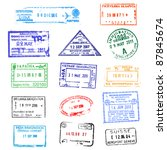 passport stamps | Shutterstock .eps vector #87845674
