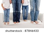 a young family wearing jeans... | Shutterstock . vector #87846433