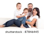young parents with children at... | Shutterstock . vector #87846445