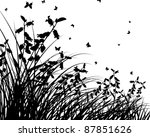 grass silhouettes background fo ... | Shutterstock . vector #87851626
