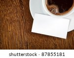 blank card with coffee cup with ... | Shutterstock . vector #87855181