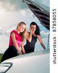 two young women with broken car ... | Shutterstock . vector #87858055