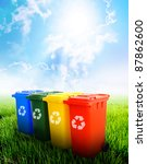 colorful recycle bins ecology...   Shutterstock . vector #87862600