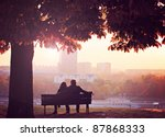Romantic Couple On A Bench By...
