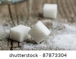 Close Up Of White Sugar On Old...