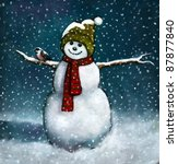 Oil Pastel Painting Of Snowman...