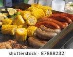 grilled corn  sausages and meat | Shutterstock . vector #87888232