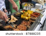 grilled corn  sausages and meat | Shutterstock . vector #87888235