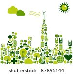 Green city shape made with environmental icons set. - stock vector