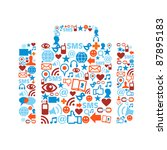 bag silhouette made with social ... | Shutterstock .eps vector #87895183