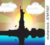 city scape scene with sunrise... | Shutterstock . vector #87897007