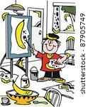 vector cartoon of artist...   Shutterstock .eps vector #87905749