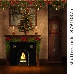 vintage room with a fireplace... | Shutterstock . vector #87910375