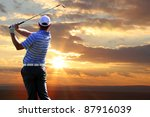 man playing golf against sunset | Shutterstock . vector #87916039