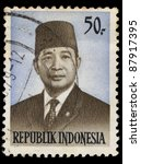 indonesia circa 1979 a stamp... | Shutterstock . vector #87917395