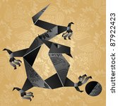 origami black water dragon on a ... | Shutterstock .eps vector #87922423