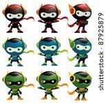 robot ninja mascot set 1 | Shutterstock .eps vector #87925879