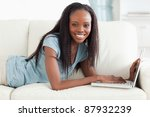 smiling woman lying on the... | Shutterstock . vector #87932239