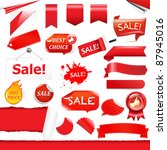 red labels and ribbons set ... | Shutterstock .eps vector #87945016