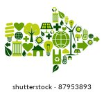 Arrow symbol made with green environment icons set. - stock photo