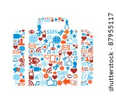 bag silhouette made with social ... | Shutterstock . vector #87955117