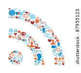 social media icons set in rss... | Shutterstock . vector #87955123