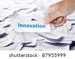 Word innovation in hand, business concept - stock photo