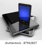 glowing mobile phone standing... | Shutterstock . vector #87962827