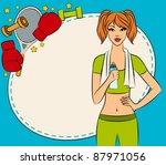 vector beautiful fitness woman