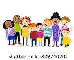 group of kids winter | Shutterstock .eps vector #87974020