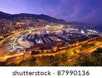 Monte Carlo port, Monaco. night scene - stock photo