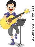 Illustration of a Kid Playing the Guitar - stock vector