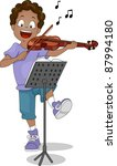 Illustration of a Kid Playing the Violin - stock vector