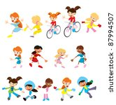 vector cartoon people girls | Shutterstock .eps vector #87994507