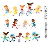 vector cartoon people girls | Shutterstock .eps vector #87994507