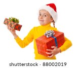 Smiling girl in Santa hat with two gift boxes, isolated on white - stock photo